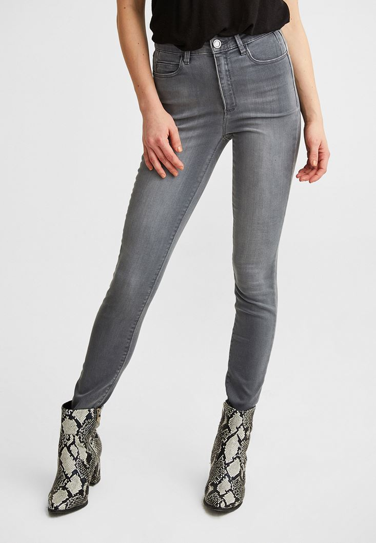 Grey Ultra High Rise Skinny Pants