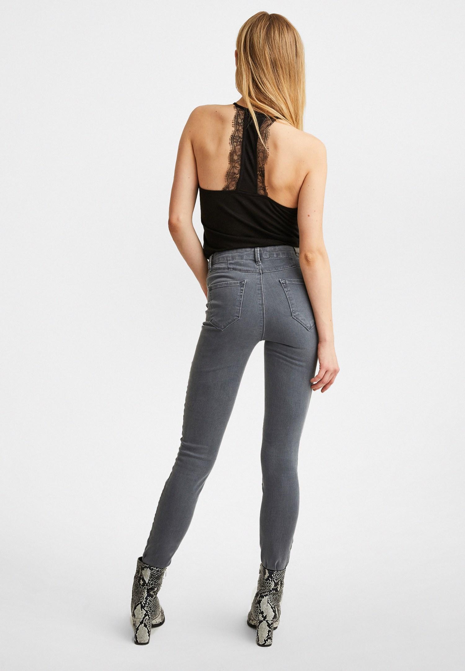 Bayan Gri Ultra Yüksek Bel Skinny Denim