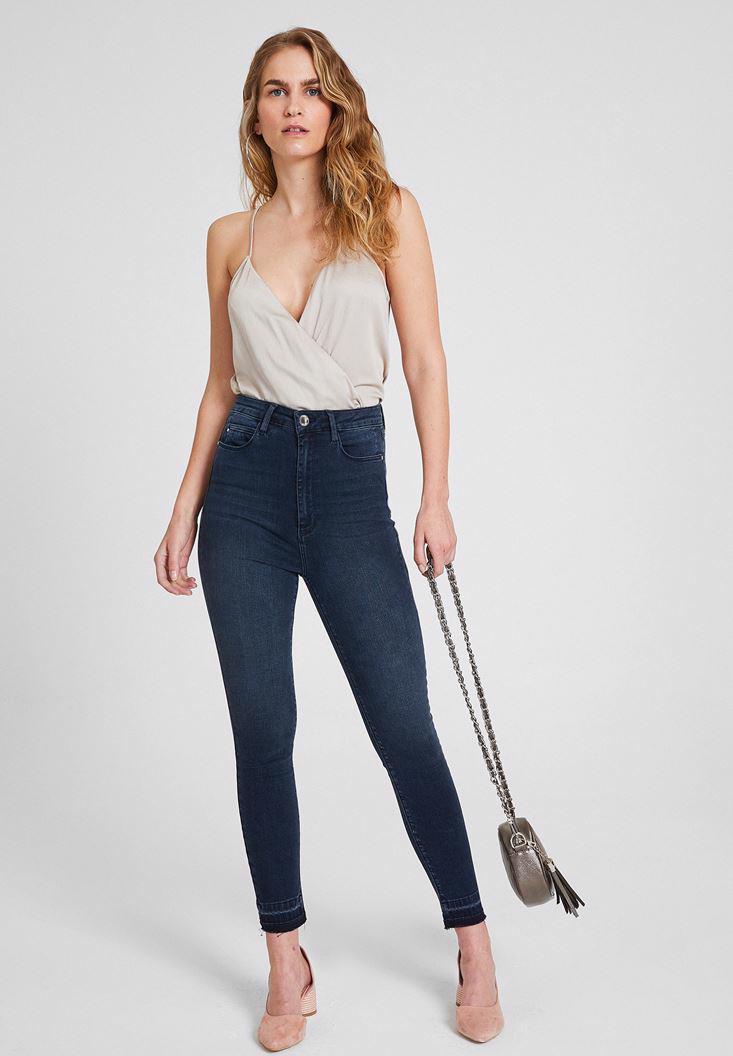 Bayan Mavi Ultra Yüksek Bel Skinny Denim