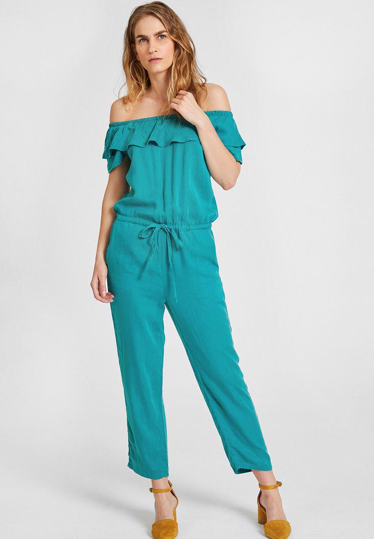 Women Green Off-Shoulder Jumpsuit
