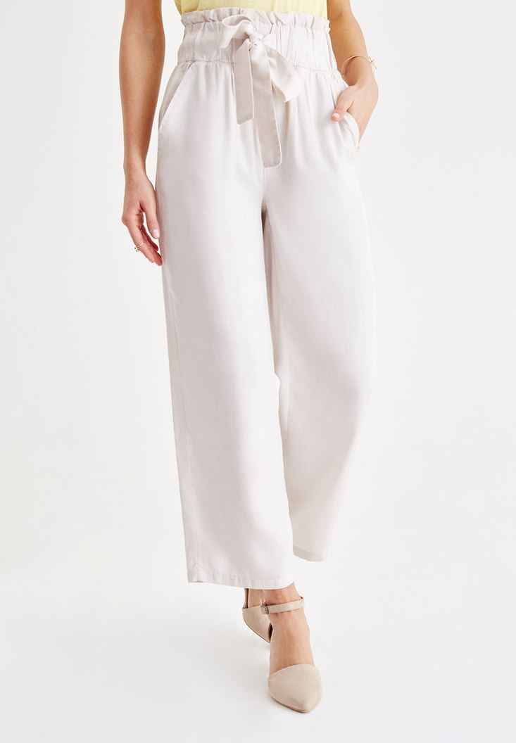 Grey High Rise Pants with Binding Details