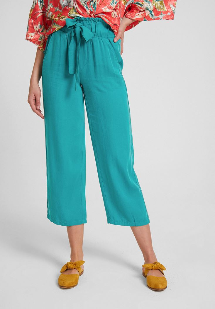 Green High Rise Pants with Binding Details