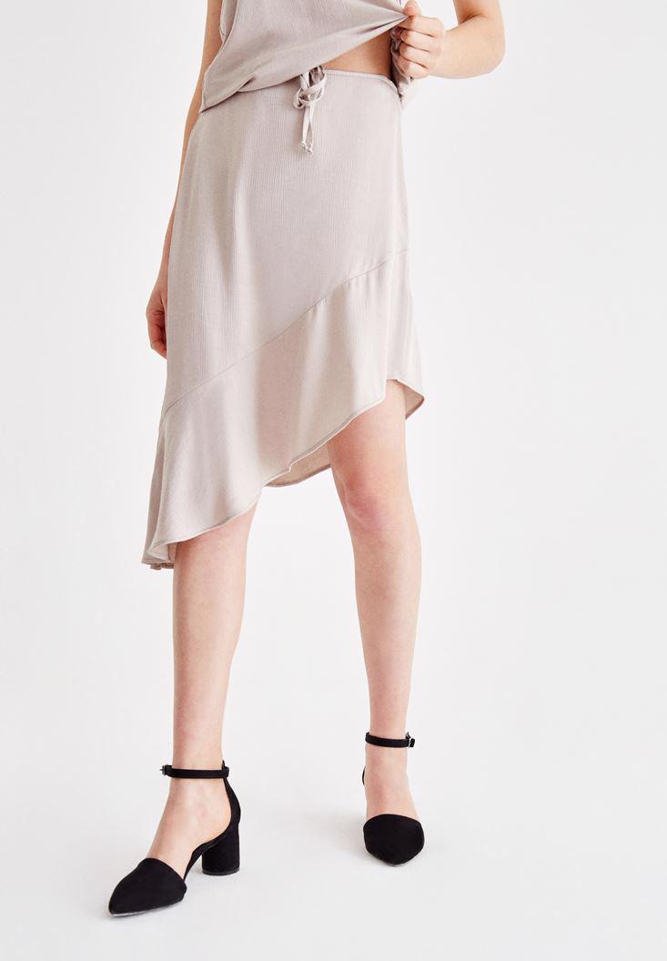 Women Grey Satin Skirt