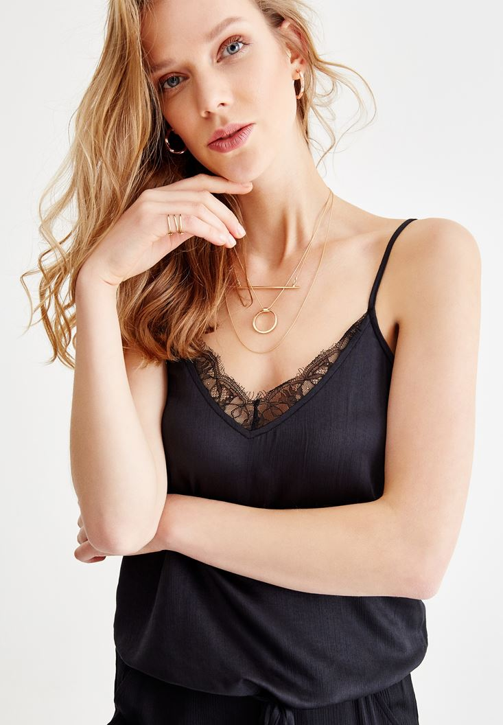 Black Satin Blouse with Binding Details