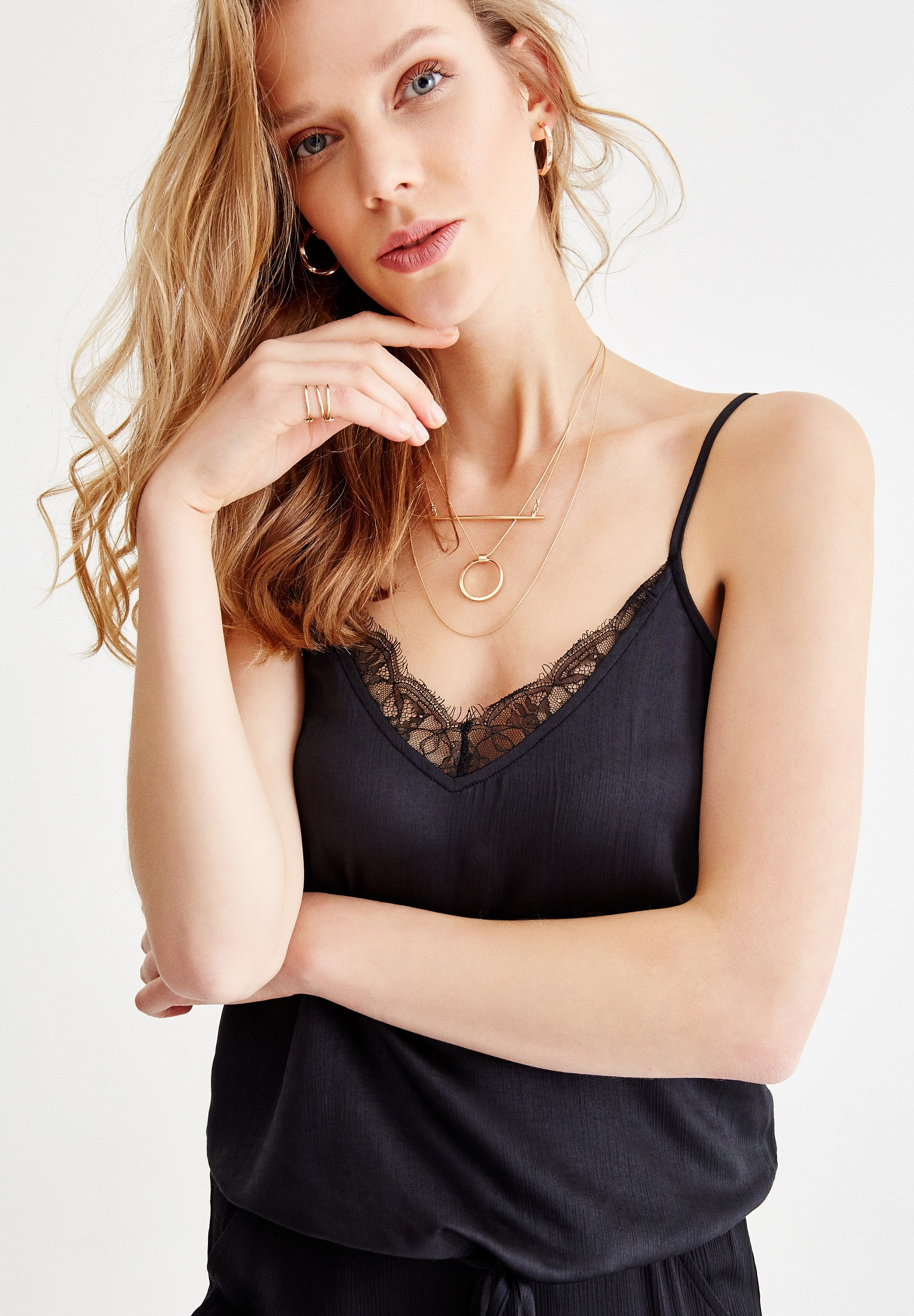 Women Black Satin Blouse with Binding Details