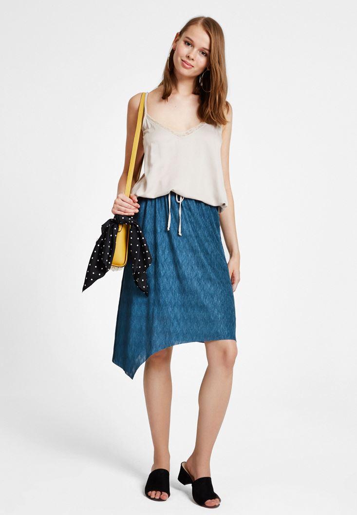 Women Grey Satin Blouse with Binding Details
