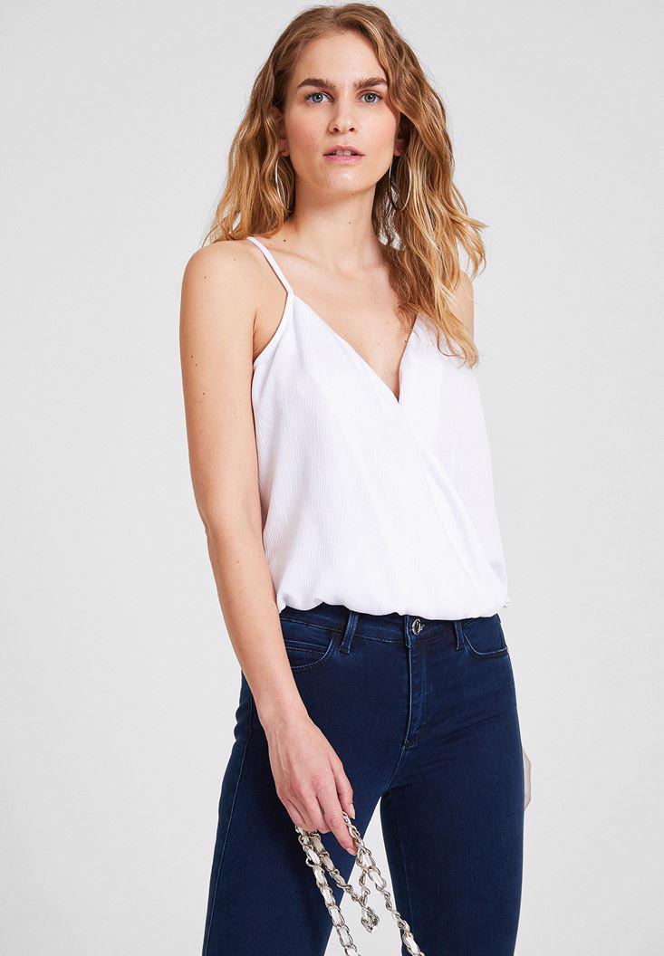 Bayan Beyaz Yaka Detaylı Saten Bluz