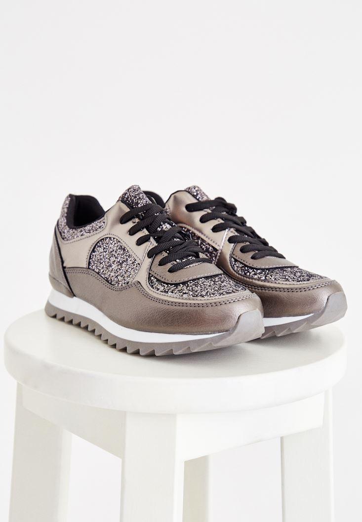 Grey Metallic Sneakers