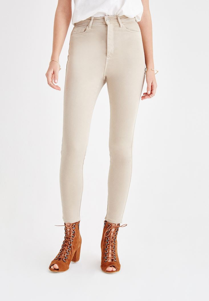 Krem Yumuşak Dokulu Ultra Yüksek Bel Pantolon
