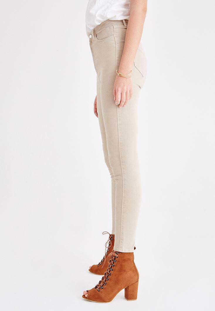 Women Cream Skinny Pants with Ultra High Rise