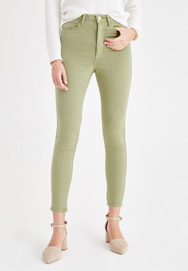 Yeşil Dar Paça Ultra Yüksek Bel Pantolon