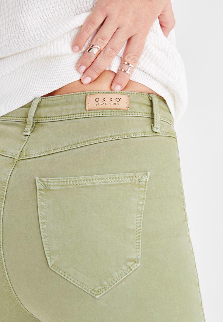 Women Green Skinny Pants with Ultra High Rise