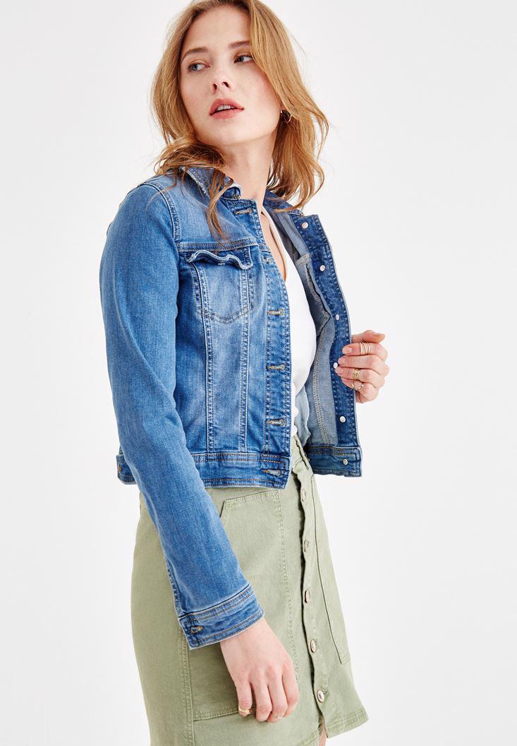 Bayan Mavi Kısa Denim Ceket