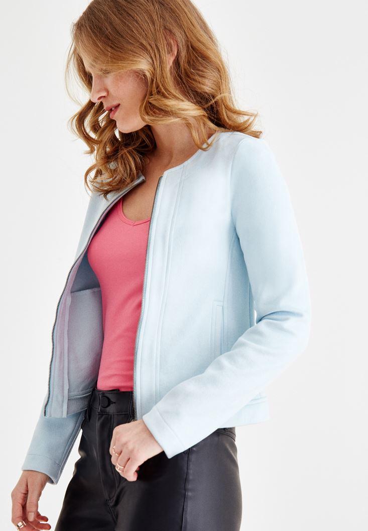 Mavi Fermuarlı Süet Ceket