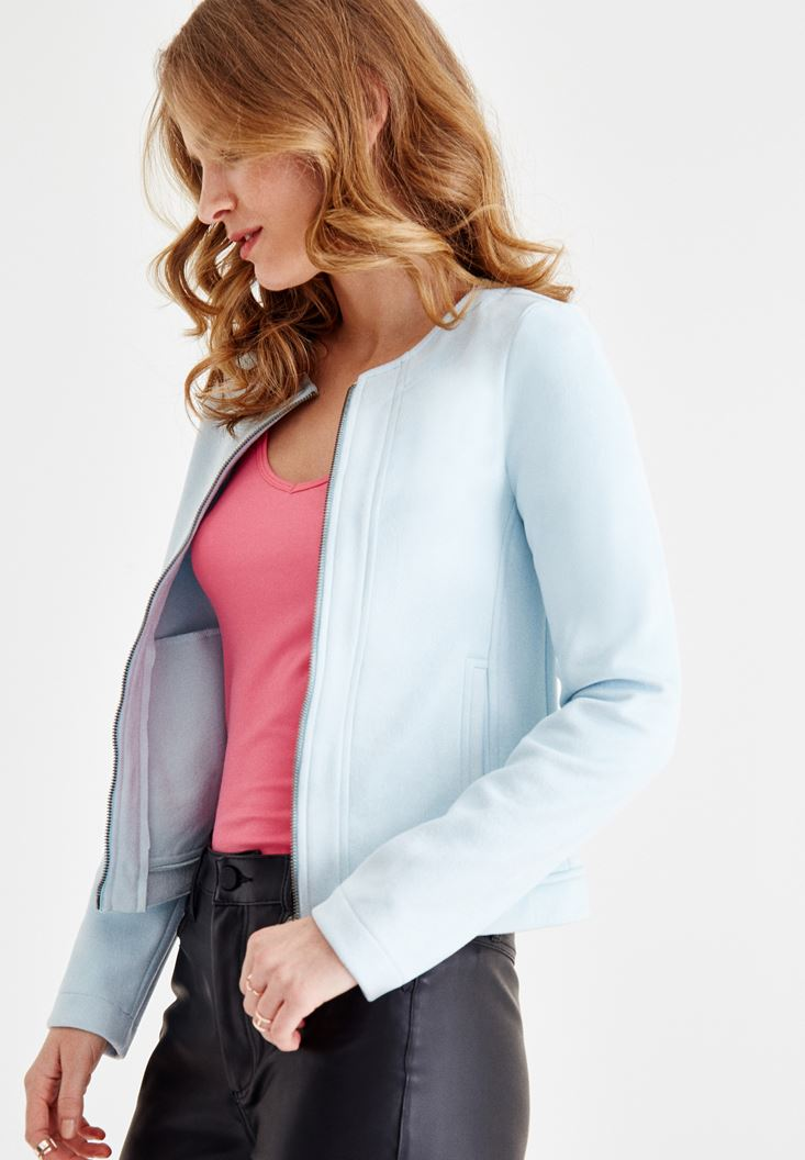 Blue Suede Jacket with Zipper Details