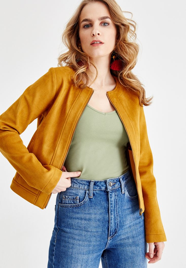 Brown Suede Jacket with Zipper Details