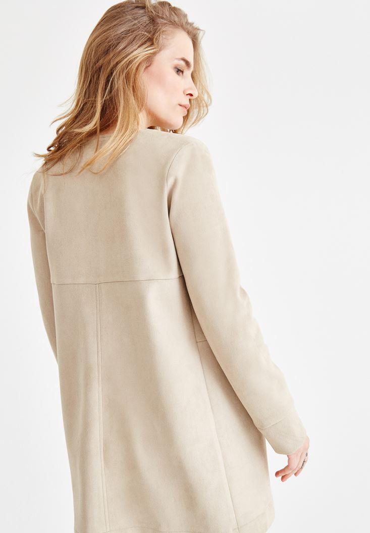 Bayan Kahverengi Dikiş Detaylı Cepli Ceket