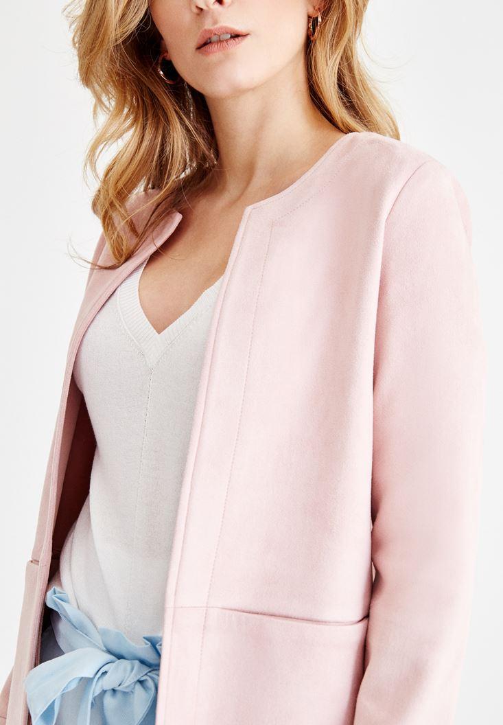 Bayan Pembe Dikiş Detaylı Cepli Ceket
