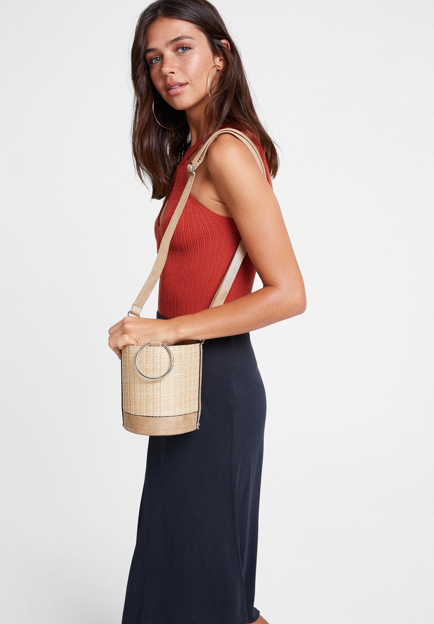 Women Grey Smocked Straw Bag