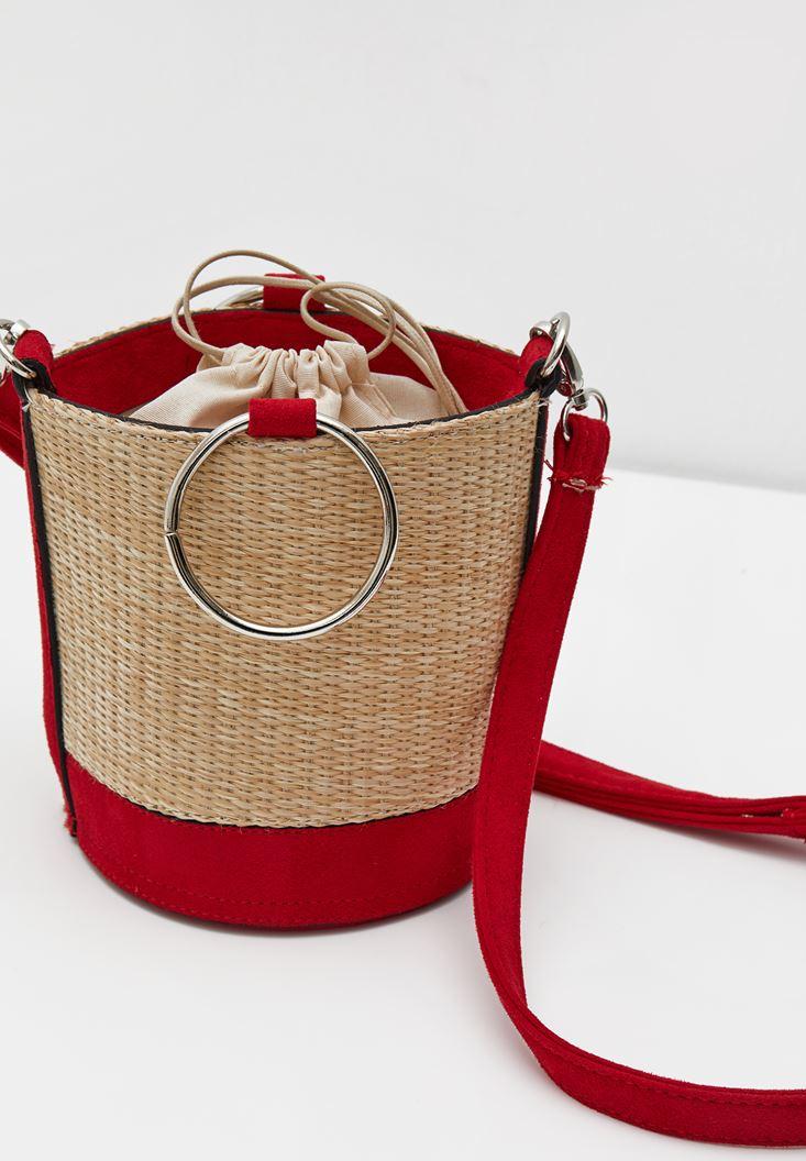 Kırmızı İçi Büzgülü Hasır Çanta