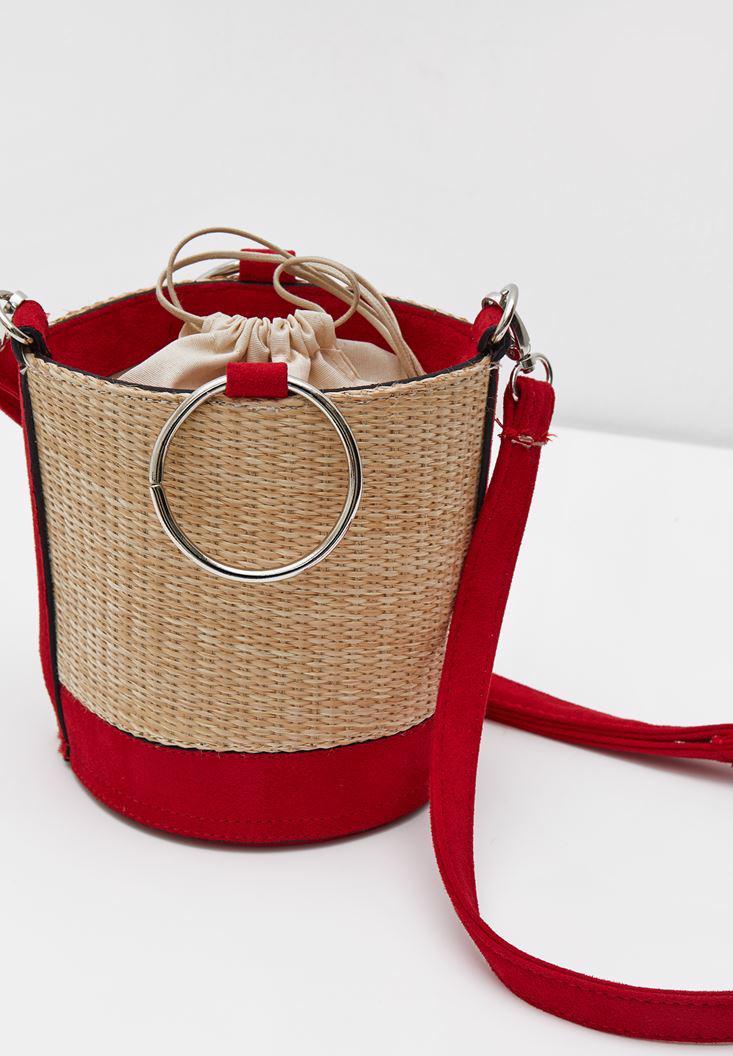 Bayan Kırmızı İçi Büzgülü Hasır Çanta