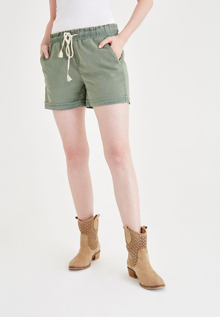 Green Short with Binding and Pocket