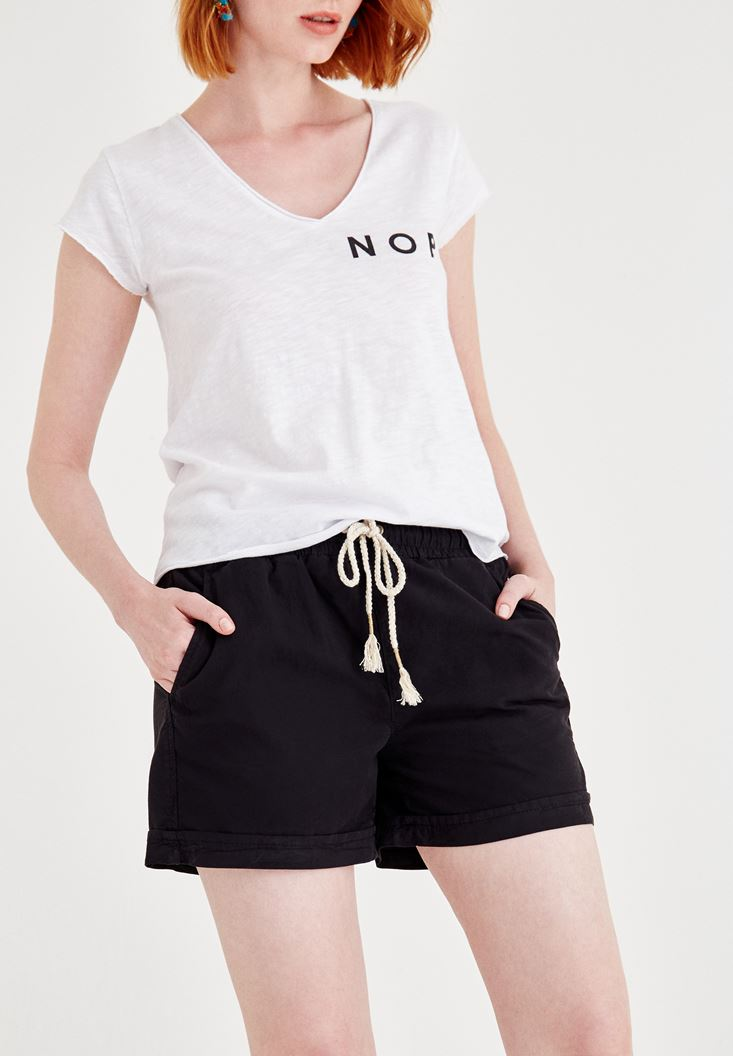Black Short with Binding and Pocket