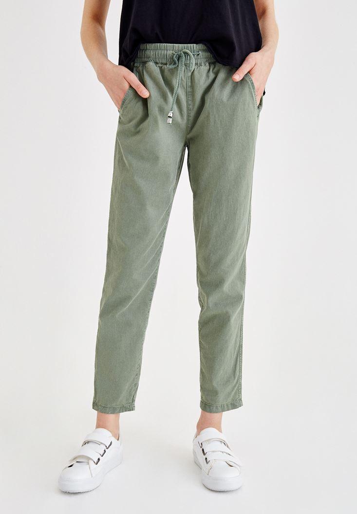 Yeşil Beli Lastikli Bağlama Detaylı Pantolon