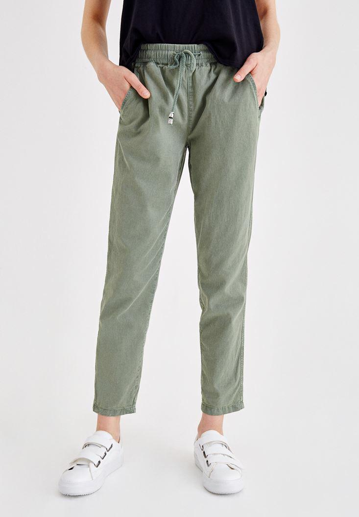 Women Green Pants with Binding and Pocket