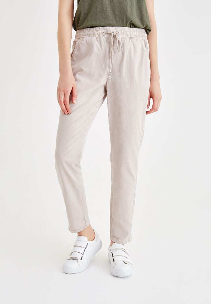 Gri Beli Lastikli Bağlama Detaylı Pantolon