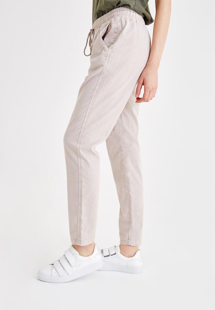 Women Grey Pants with Binding and Pocket