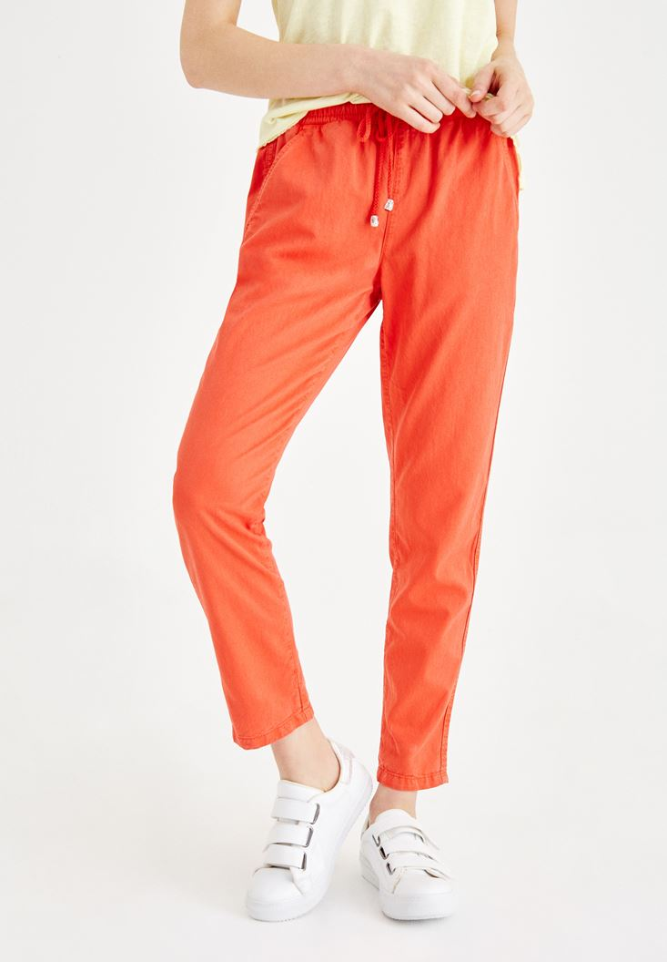 Turuncu Beli Lastikli Bağlama Detaylı Pantolon
