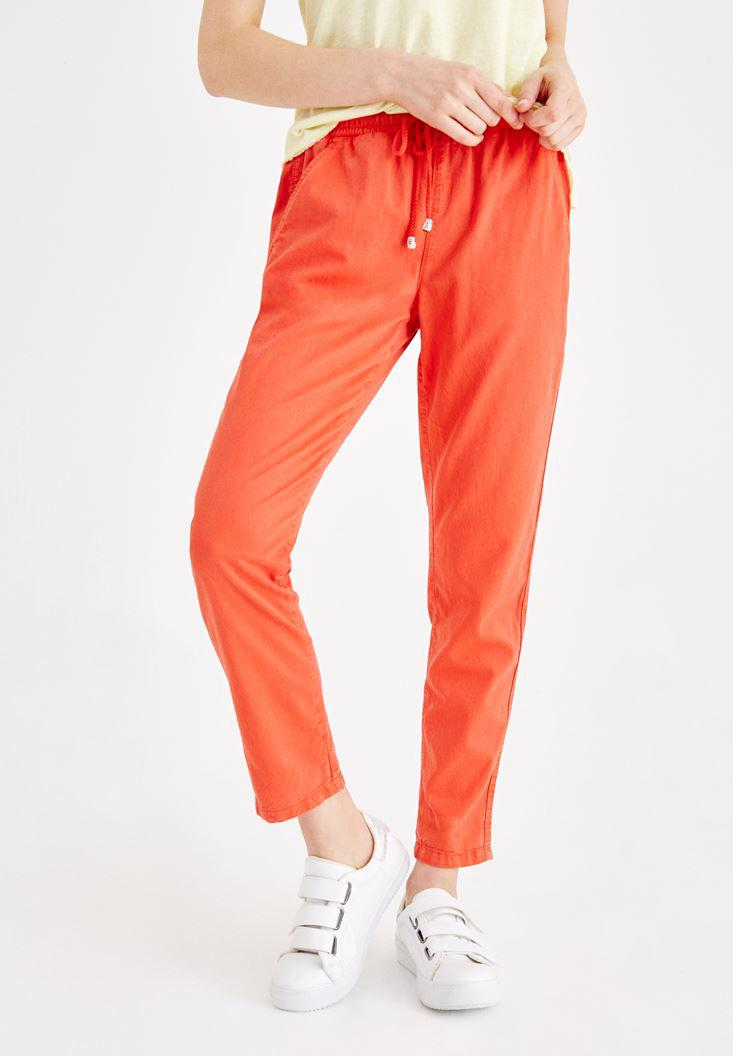 Women Orange Pants with Binding and Pocket