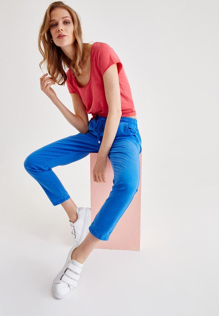 Mavi Beli Lastikli Bağlama Detaylı Pantolon
