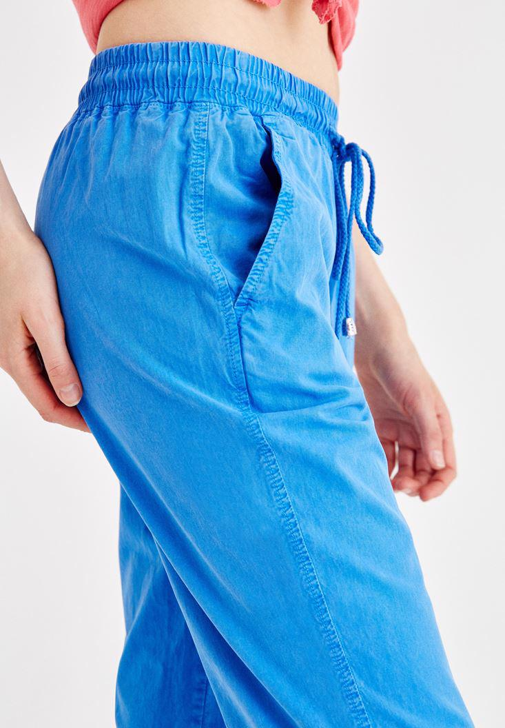 Women Blue Pants with Binding and Pocket