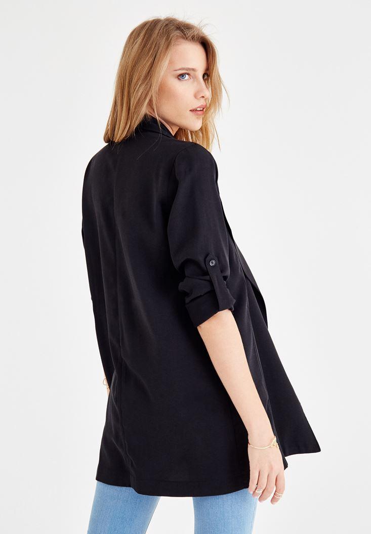Bayan Siyah Kol Detaylı Şal Yaka Ceket