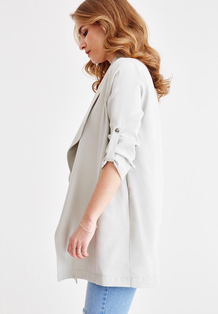 Bayan Krem Kol Detaylı Şal Yaka Ceket