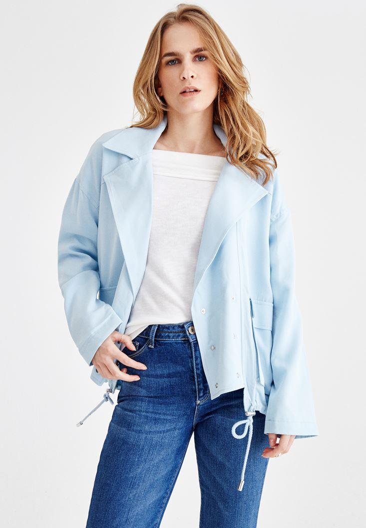Mavi Oversize Ceket ve Jean Kombini