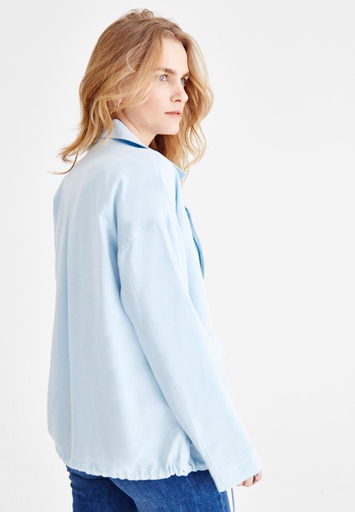 Women Blue Oversize Coat