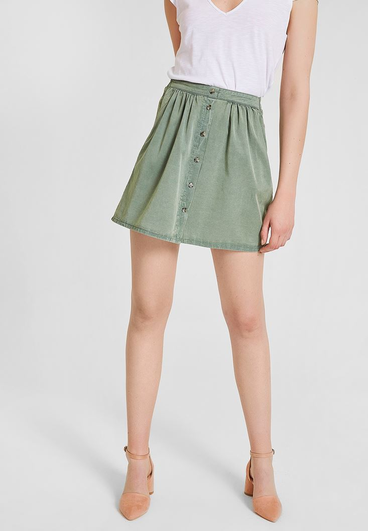 Green Skirt with Button Detailed