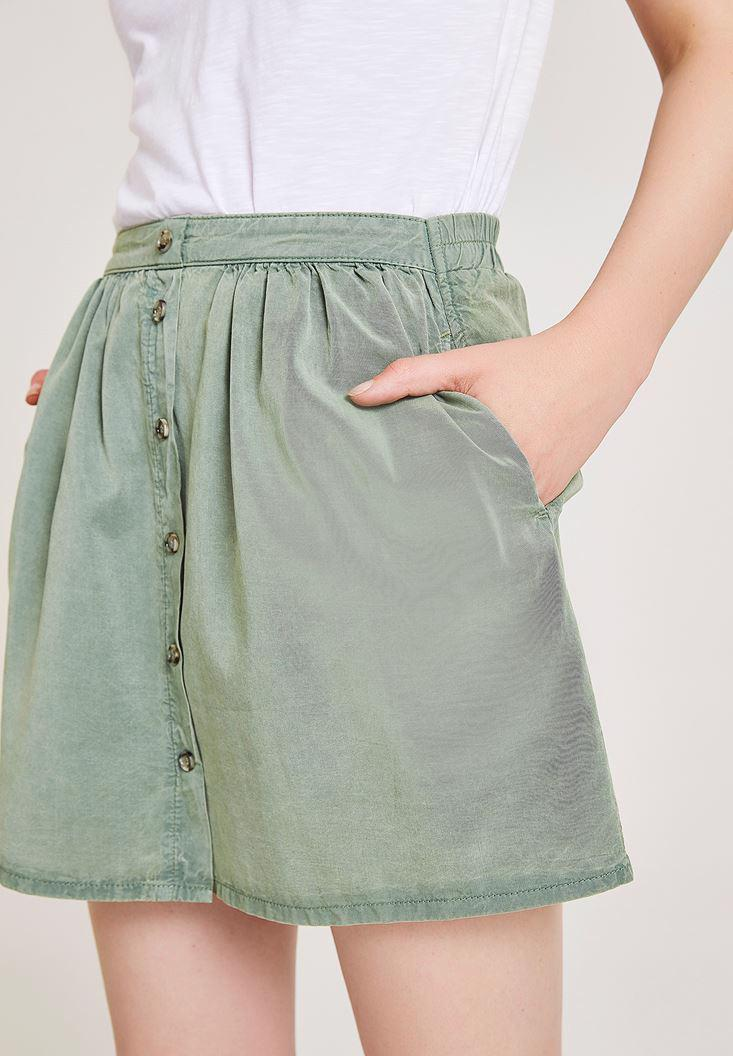 Women Green Skirt with Button Detailed