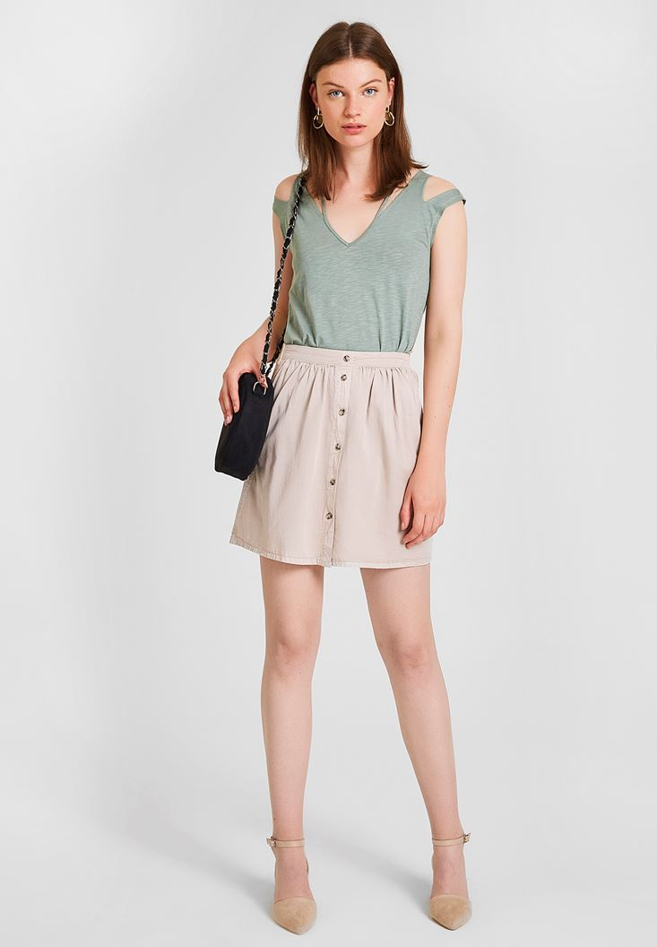 Cream Skirt with Button Detailed