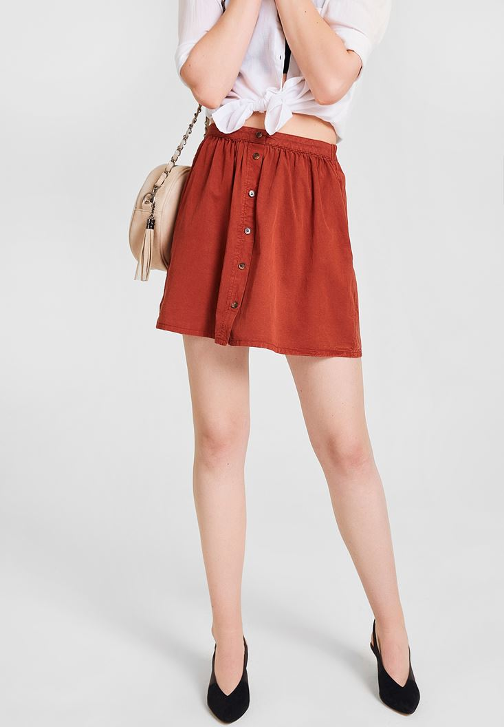 Brown Skirt with Button Detailed