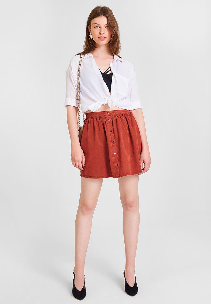 Women Brown Skirt with Button Detailed