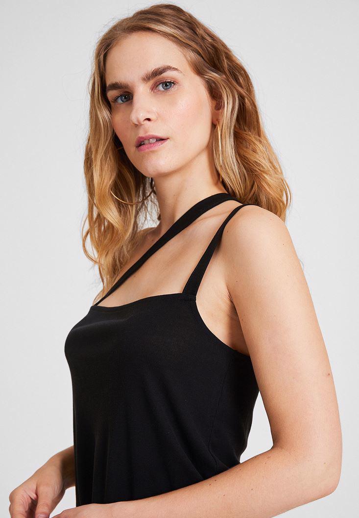 Bayan Siyah Çapraz Askılı Bluz