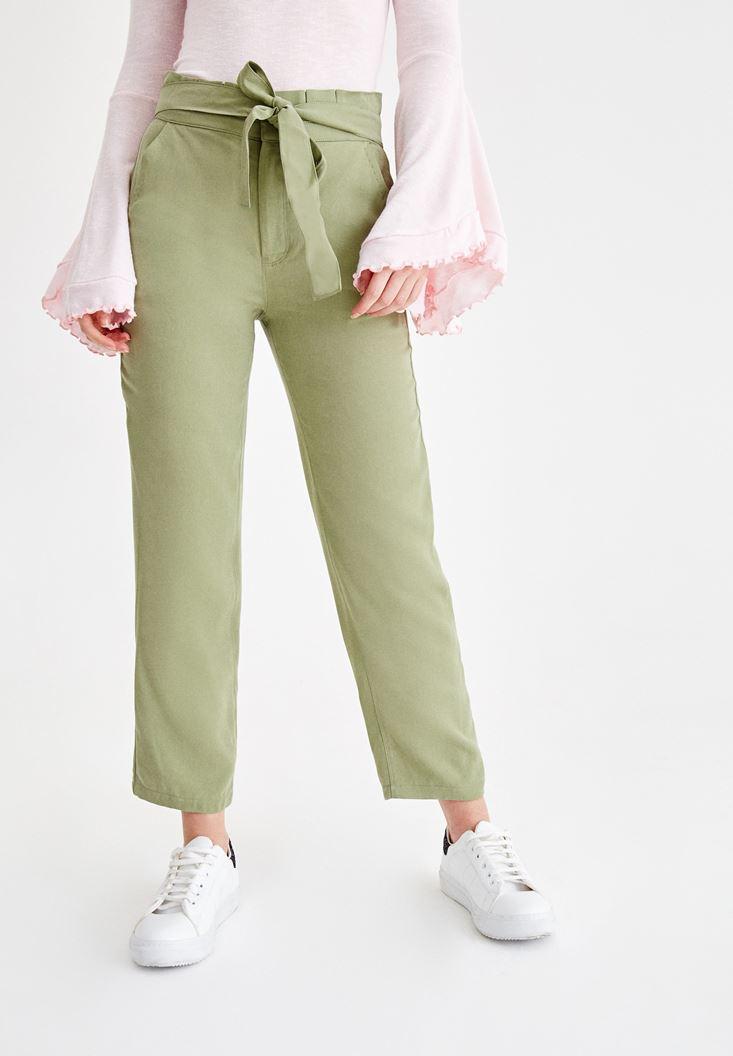 Yeşil Beli Kemerli Pantolon