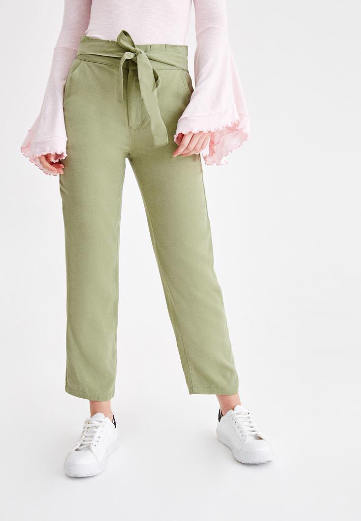 Women Green Patns with Belt Details
