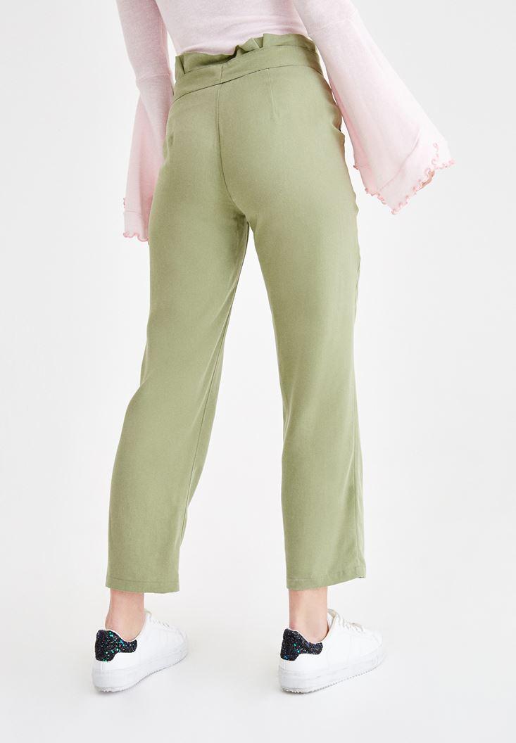 Bayan Yeşil Beli Kemerli Pantolon