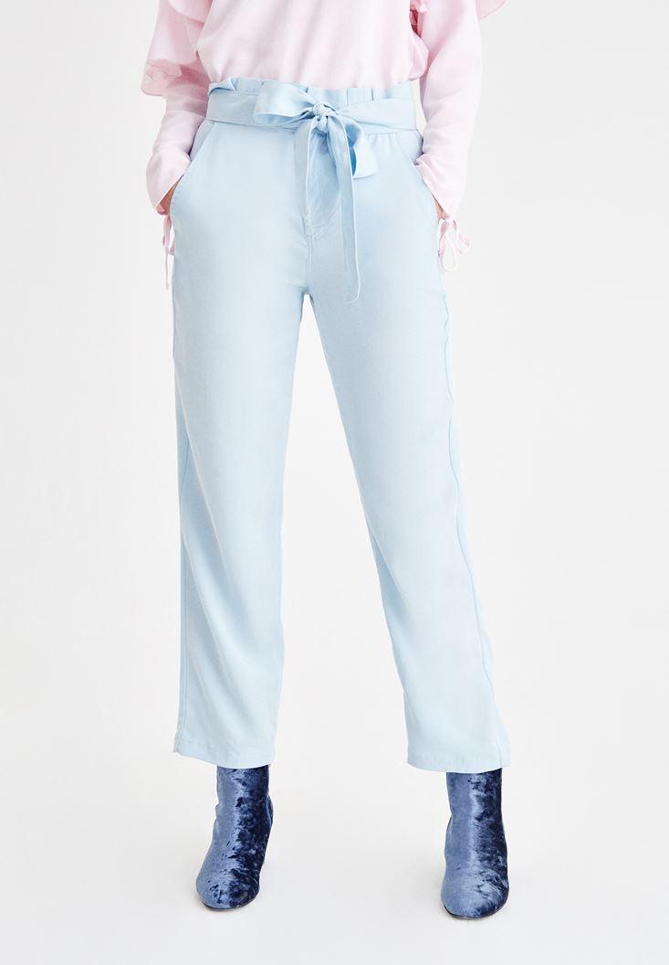 Mavi Beli Kemerli Pantolon