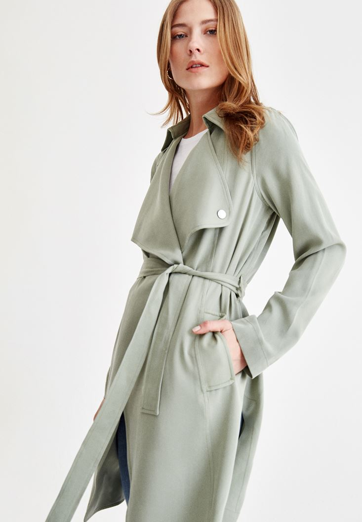 Green Trenchcoat with Neck Details